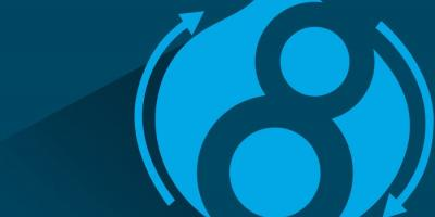 Image containing Drupal 8 logo with a blue background.